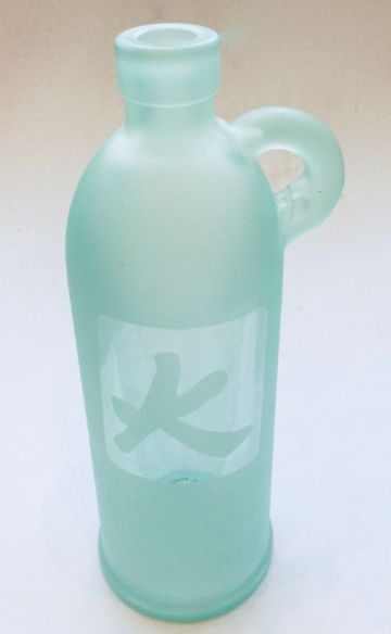 Retro Decorative TALL GLASS BOTTLE VASE with HANDLE - FIRE